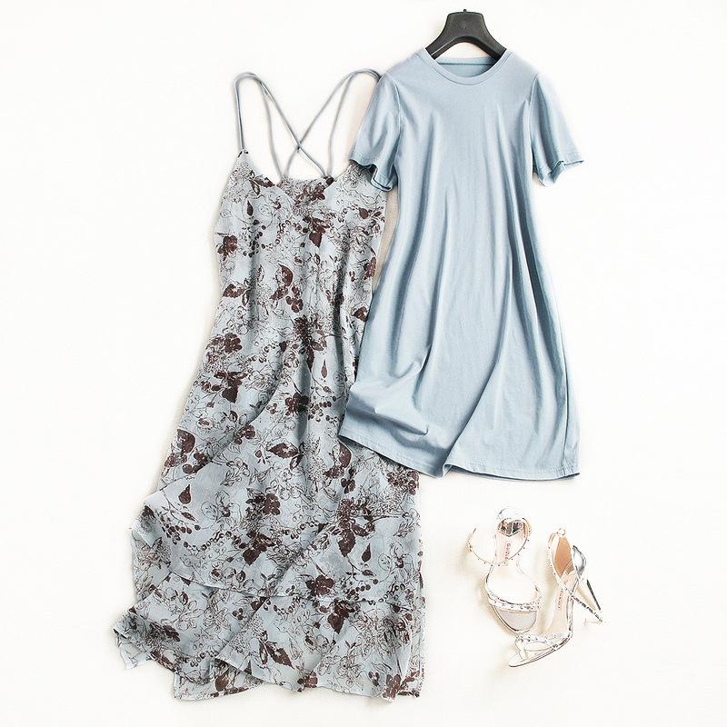 碎花雪纺吊带裙女夏季2018新品不规则中长款气质T恤两件套连衣裙