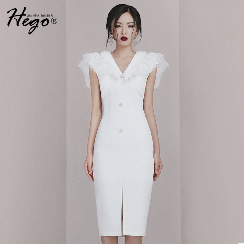 498.00元包邮2019夏季新款小香风无袖显瘦修身蕾丝中长款V领气质白色连衣裙女