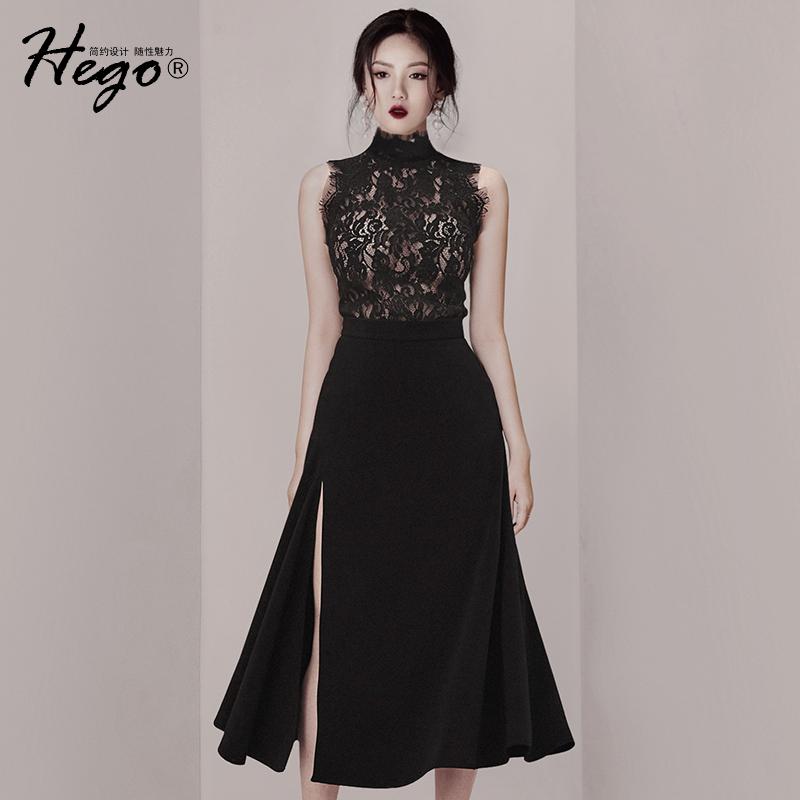 12-02新券2019夏季新款气质黑色修身蕾丝裙子