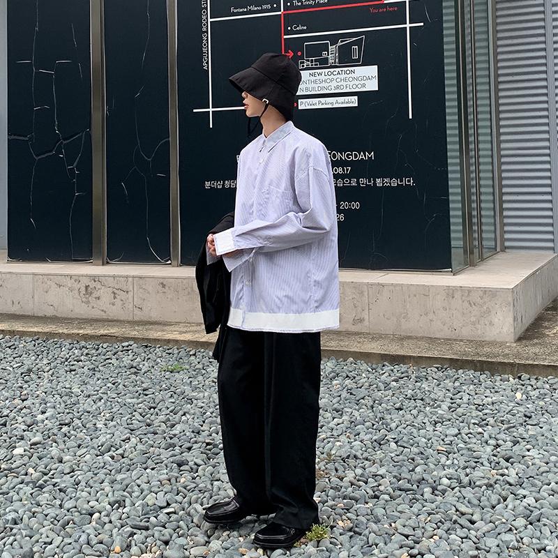 白口阳 2020春季新款潮男长袖衬衫韩版下摆拼接条纹休闲宽松衬衣