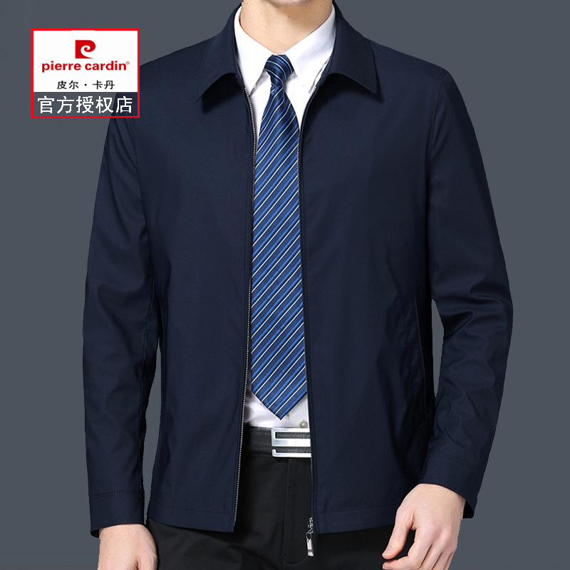 Pierre Cardin business casual jacket middle aged spring autumn Lapel mens coat thin middle aged dad big size