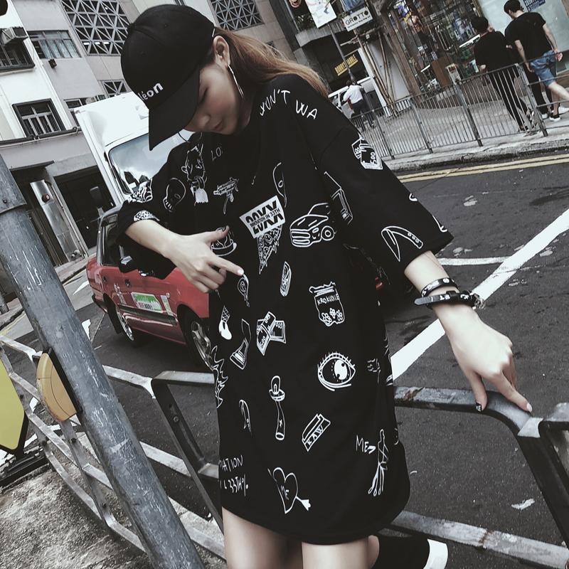 下身失踪黑色t恤女嘻哈bf港味中长款潮牌ins超火的上衣体恤学生潮