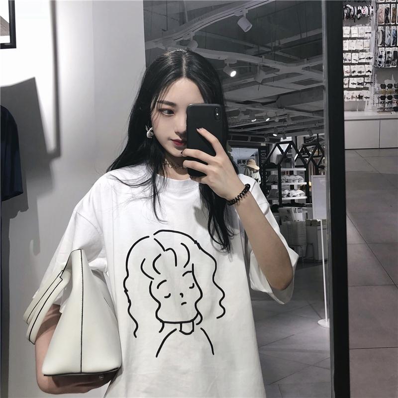 夏季韩国ulzzang宽松百搭原宿bf风女孩印花女短袖T恤女学生上衣潮