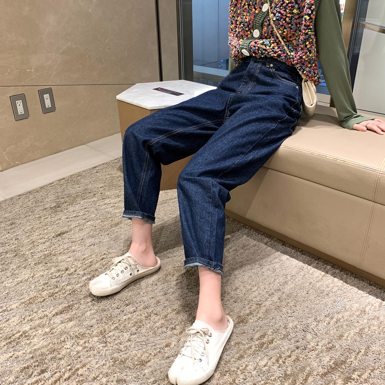 深蓝色高腰直筒宽松裤子2019牛仔裤