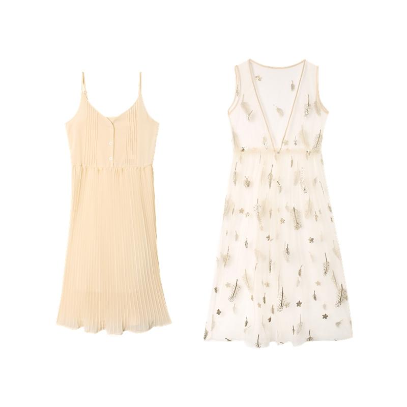裙子2019新款夏亮片网纱吊带裙雪纺连衣裙仙女网红两件套女套装裙
