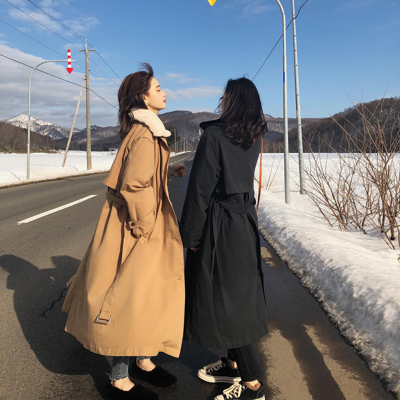 冬装2018流行英伦风女装 韩版时尚加棉加厚长款过膝风衣外套女冬