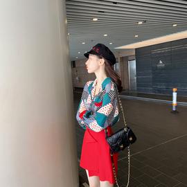 套装女2019新款初秋矮个子显高时尚衬衫半身裙洋气网红气质两件套图片