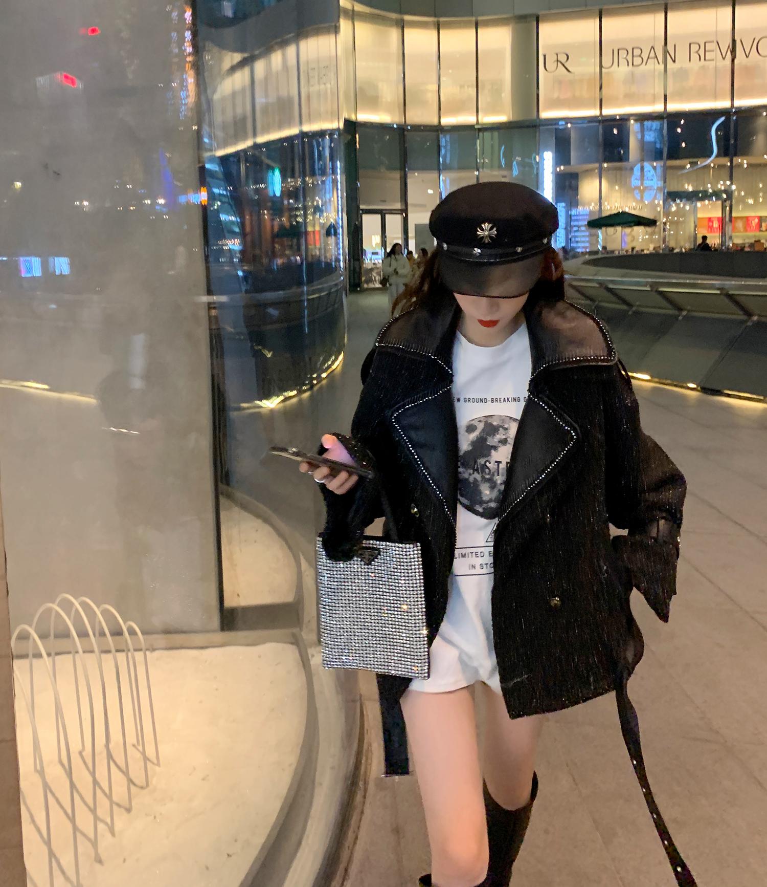 网红黑色毛呢外套2020年新款女装春季韩版宽松百搭小香风西装夹克