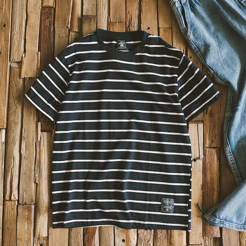 券后59.00元夏季蓝白条纹短袖男士日系潮流t恤