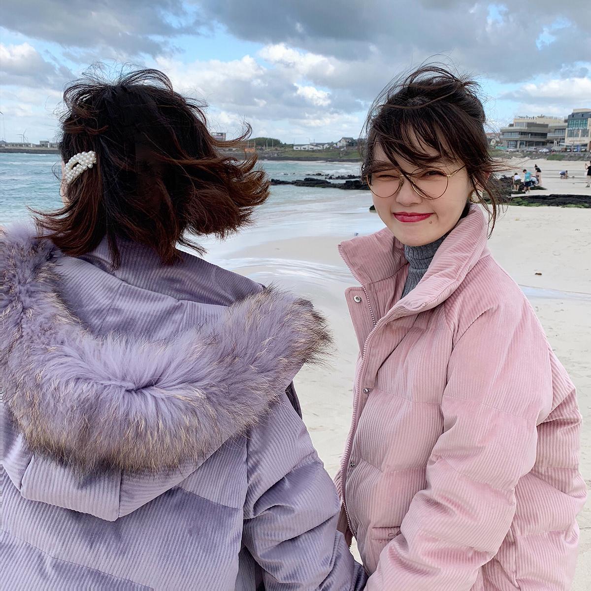 【现货售完不补】花栗鼠小姐灯芯绒刺绣可爱羽绒服短款蓬蓬外套