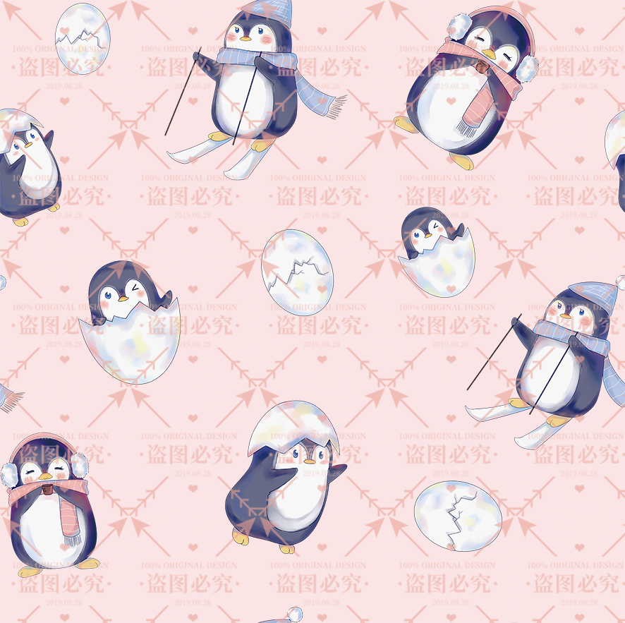 Lolita original digital print custom fabric Penguin childrens skirt baby dress DIY hand made Lolita