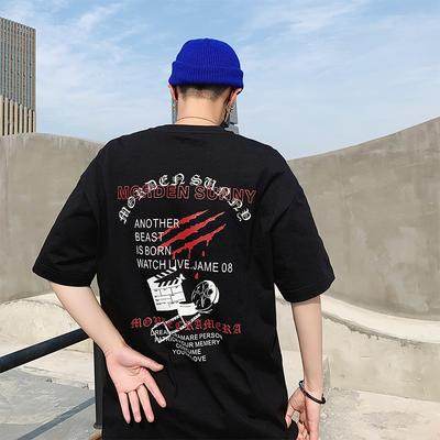 夏季新款 ins 国潮 嘻哈爪子印花短袖圆领T恤男有版权 5514 P35