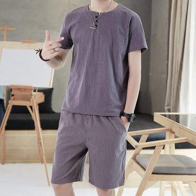 棉98.8 再生纤维1.2 夏季中国风棉麻短袖套装T恤男 2818-1 P45