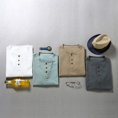 棉98.8%再生纤维素纤维1.2%平铺摆拍中国风短袖T恤男-T202-P20