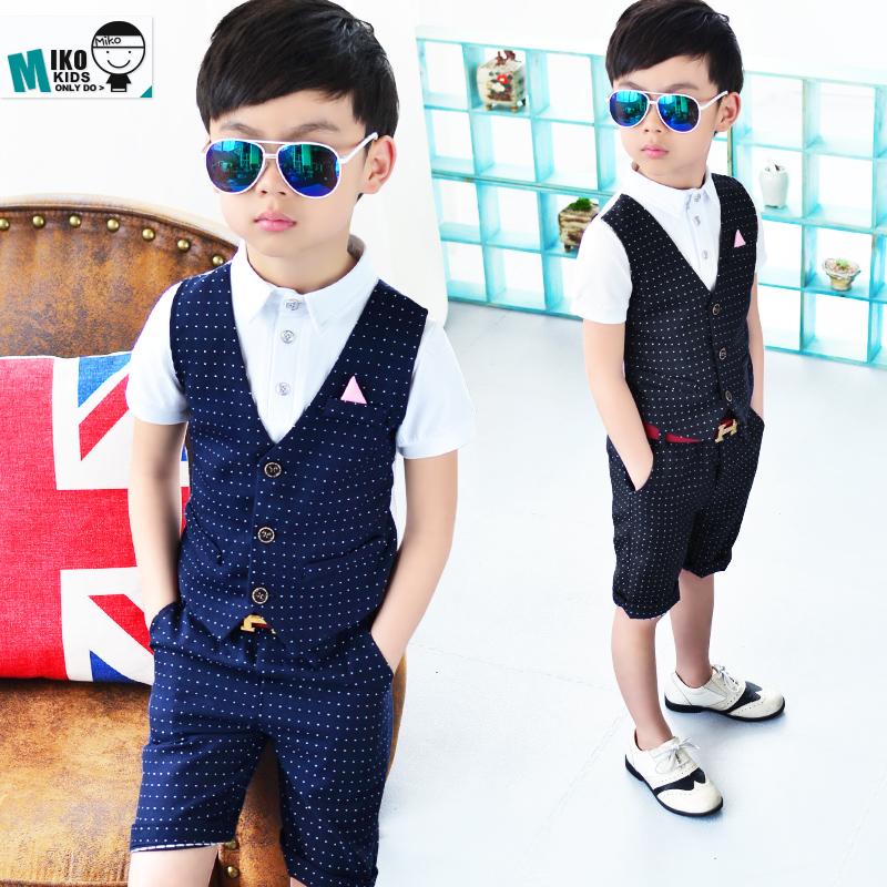 夏季童装 男童西式礼服套装 英伦儿童西装马甲两件套 花童演出服