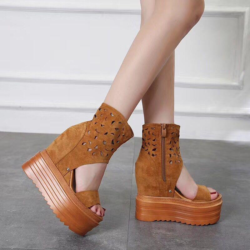 夏季靴子女镂空网靴2018夏天新款短靴时尚超高厚底内增高韩版凉靴