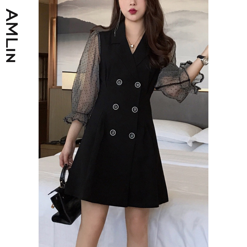 2020 spring and autumn new professional womens black double breasted temperament goddess fan fried Street suit dress summer