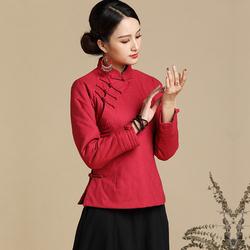 澳玛斯汀冬季民族风棉袄女棉麻长袖短款斜襟复古加厚棉服中式唐装