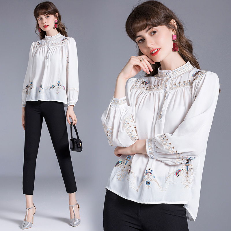 Light luxury high end chiffon shirt women 2020 New Retro Bohemian stand collar loose heavy industry embroidery