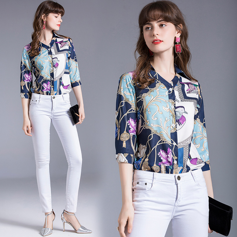 European Station New 7 / 4 sleeve chain, foreign style, minority design, retro printed ol blouse