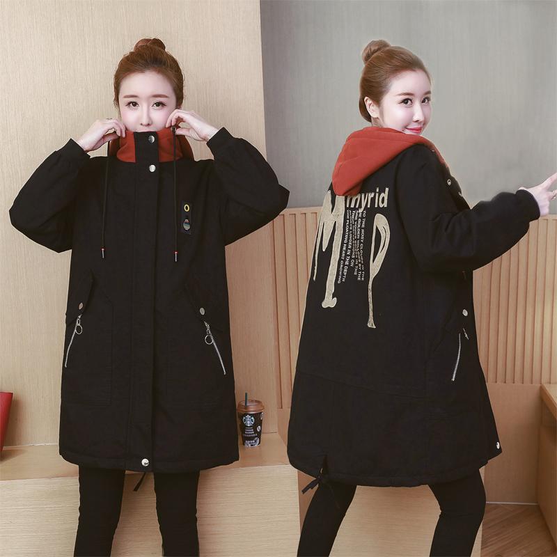胖mm冬装新款棉服大码女装宽松200斤中长款冬季加厚保暖棉衣外套