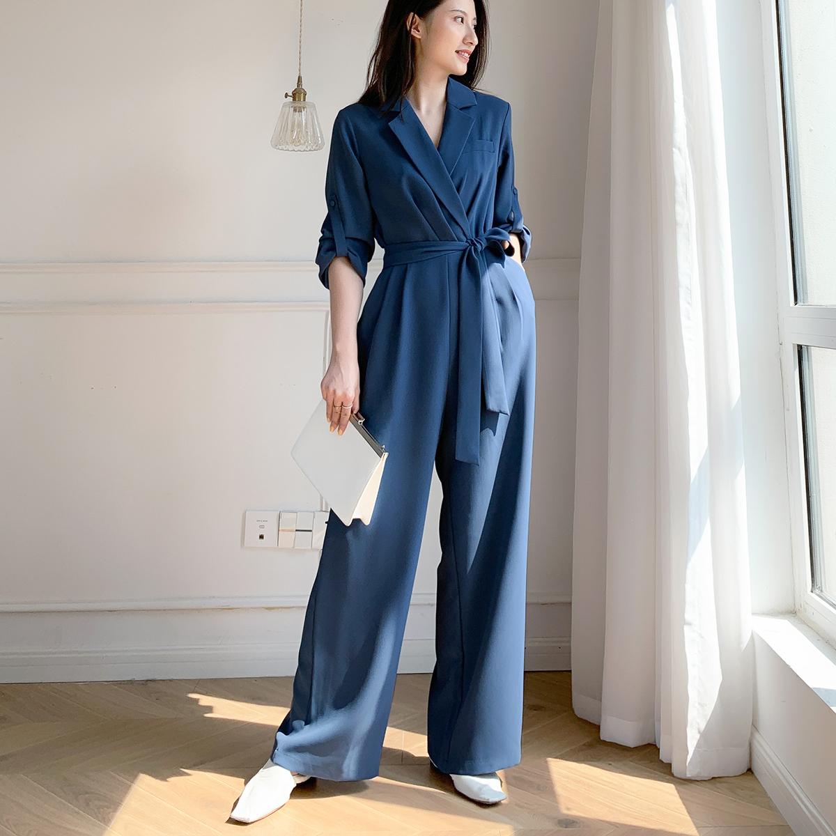 蓝色连体裤女春秋2021工装新款雪纺收腰显瘦时尚气质西装连衣裤