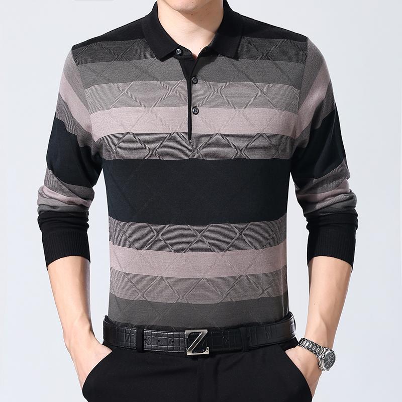 2019秋季新款毛衣男士中老年针织衫长袖衬衫领条纹C416-A59-P40绿