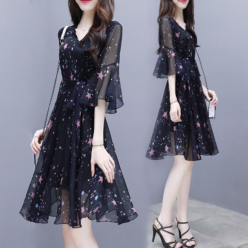 小个子黑色碎花雪纺连衣裙女夏季2021新款气质遮肚显瘦仙女裙子