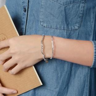 S925纯银镀白金手圈手链 意大利进口 超闪编织麻花软手镯 小福女