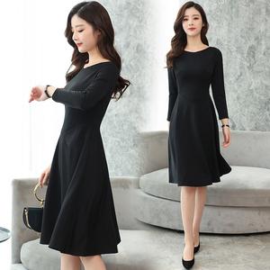 5903实拍谁穿谁美2018春装新款小黑裙过膝长裙