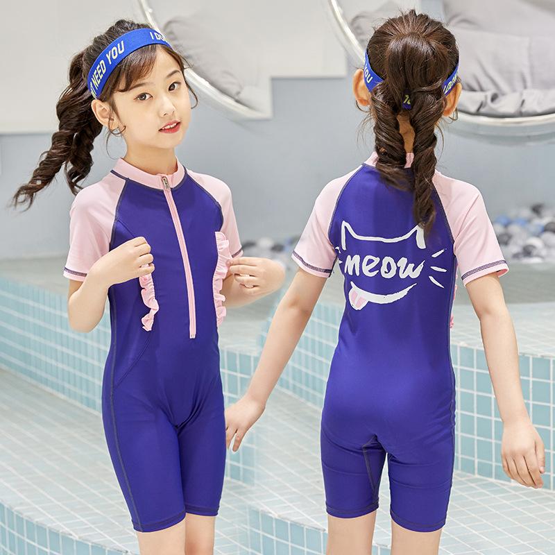 69.00元包邮连体平角短袖保守中大童女孩游泳衣