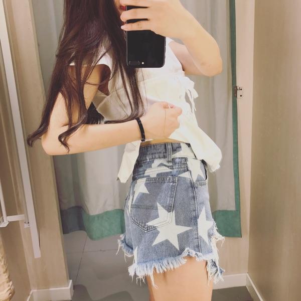 Корея очарование и летом европа спокойной непринужденной личности отверстие звезды печатных края высокая талия деним шорты горячие брюки женщин