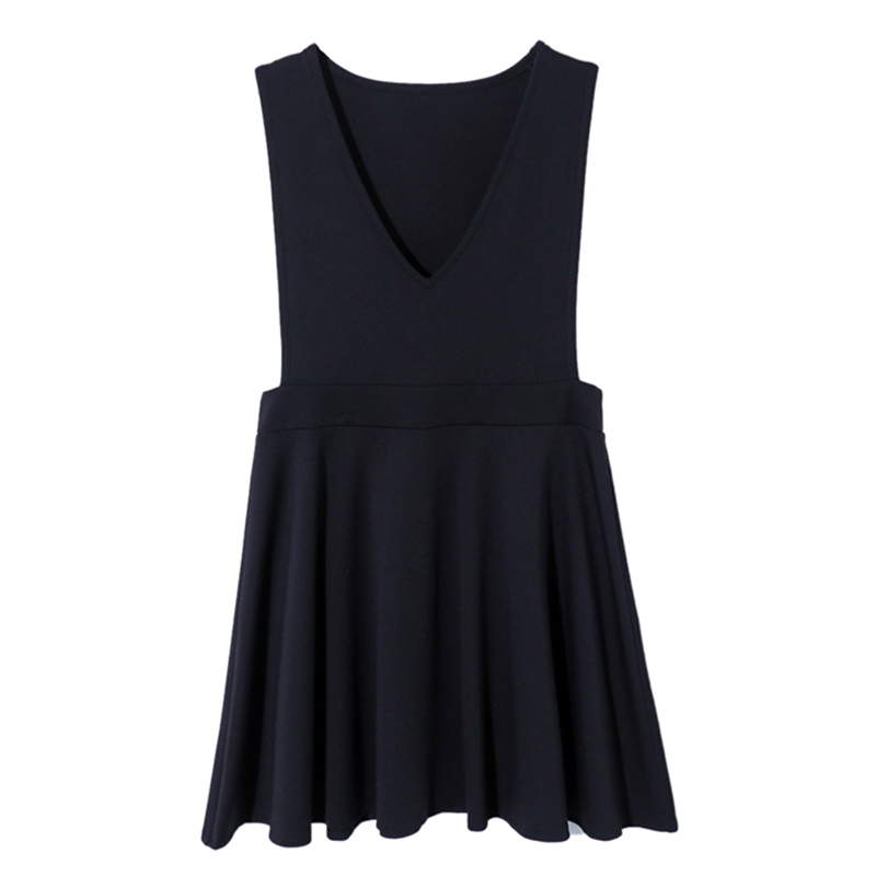 背带背心裙女2021新款春季港风小黑裙收腰减龄显瘦a字连衣裙 黑色