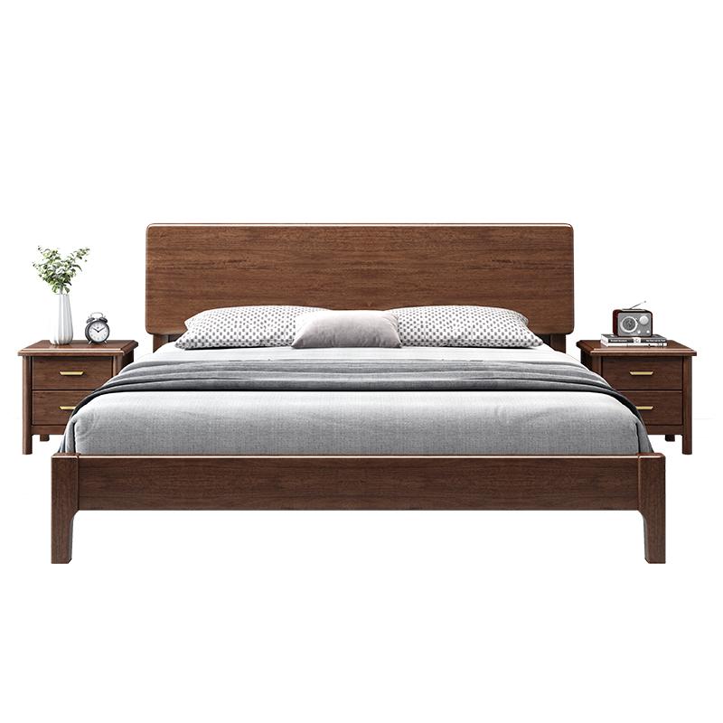 北欧主卧室胡桃木经济型双人实木床评价如何
