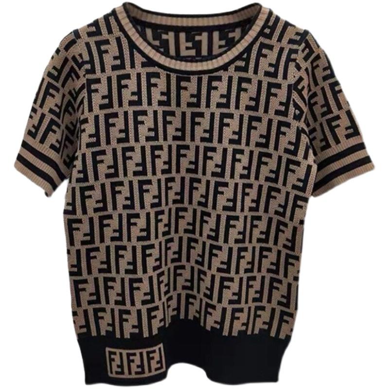 2021夏韩版短袖T恤女提花字母针织衫新款修身百搭毛衣打底上衣女