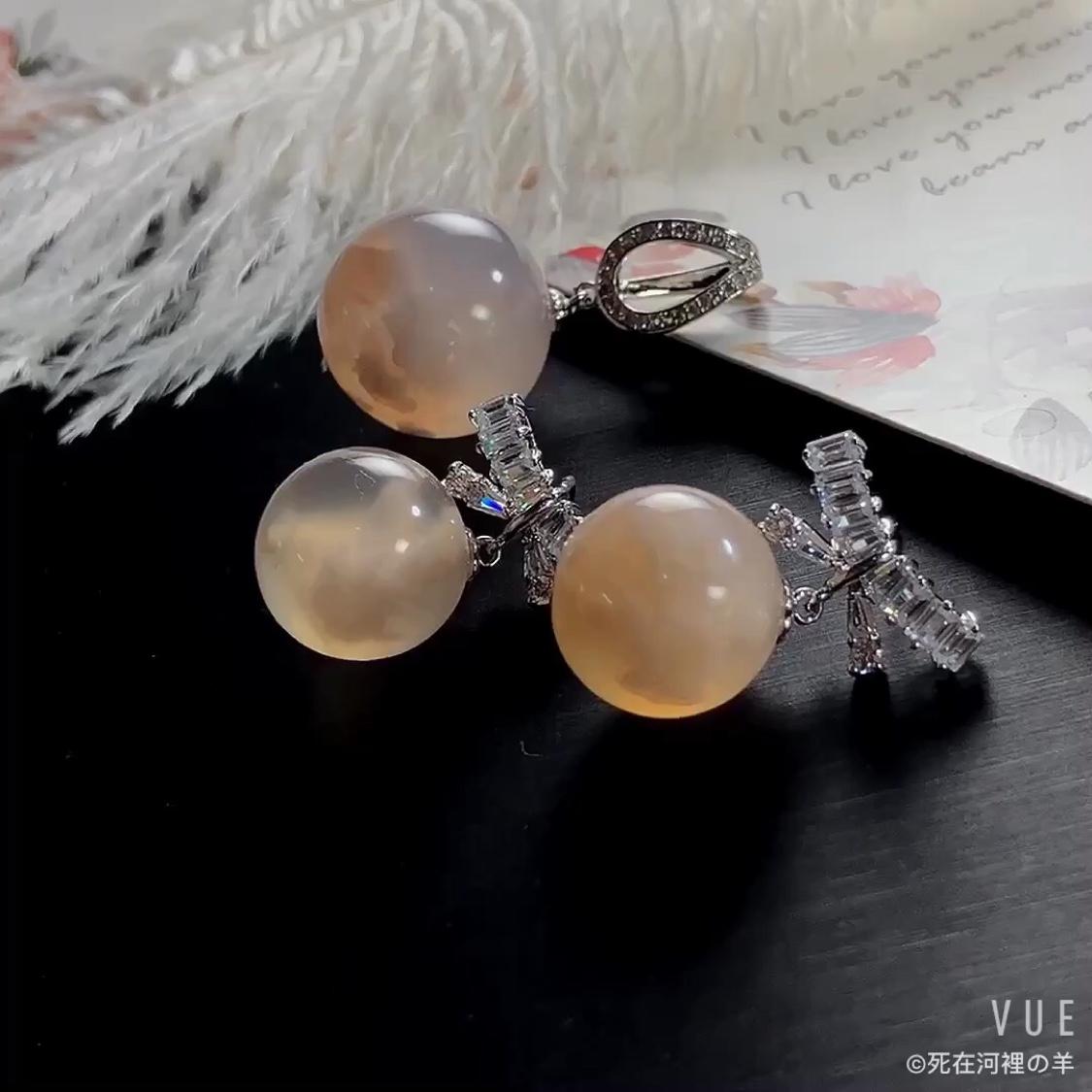 Baa hand made natural cherry agate bowknot Zircon Earrings Earrings Christmas gift Pendant Set