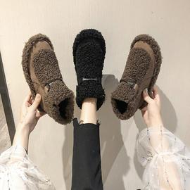 雪地靴女2019新款时尚百搭短靴平底短筒靴子皮毛一体加绒鞋子秋冬图片