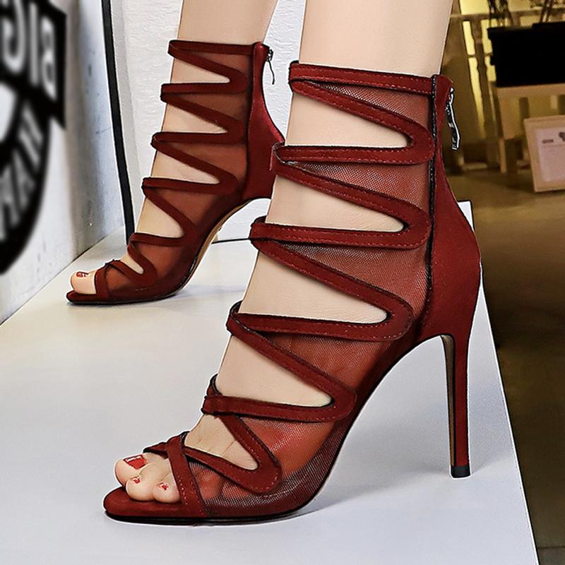 夏季女时装凉鞋女士ins潮长款蕾丝网靴子镂空高帮罗马细跟马丁靴