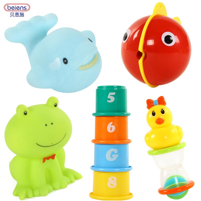 貝恩施寶寶洗澡好夥伴戲水疊疊樂可愛小黃鴨小青蛙小鯨魚噴水玩具