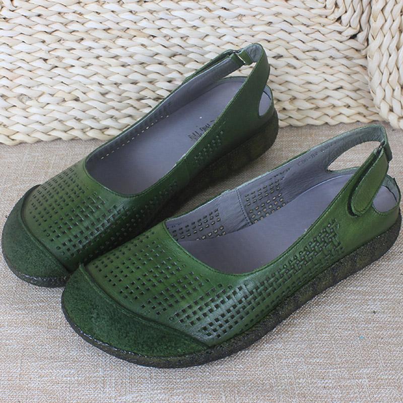 风美嵩情原创绿色女凉鞋低跟真皮头层牛皮洞洞凉鞋女圆头复古手工