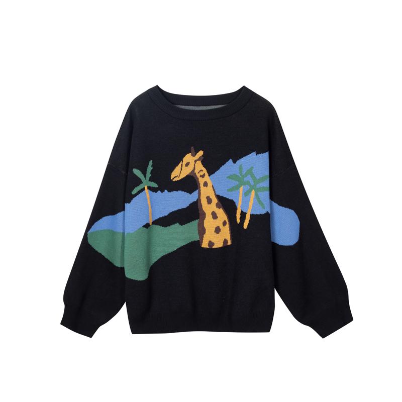 im向自制 本期最爱! 早秋毛衣女提花长颈鹿图案宽松套头针织衫