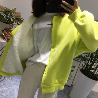 现韩国女装2021冬季新款宽松百搭加绒加厚羊羔毛内里保暖卫衣外套