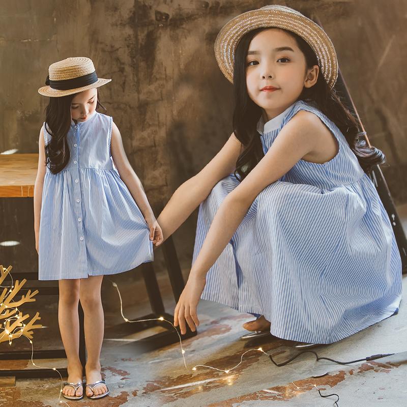 Ребятишки девочки платье летний костюм 2017 новый корейский фошаньский университет ребенок платье принцессы лето полоса жилет юбка сын