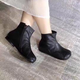 艺鞜2021冬季新款真皮加绒保暖棉靴子圆头平底补丁个性踝靴短靴女