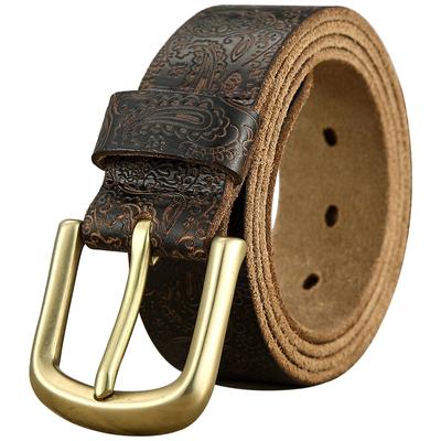 纯铜针扣皮带男真皮针扣头层纯牛皮手工复古铜扣男士腰带青年百搭