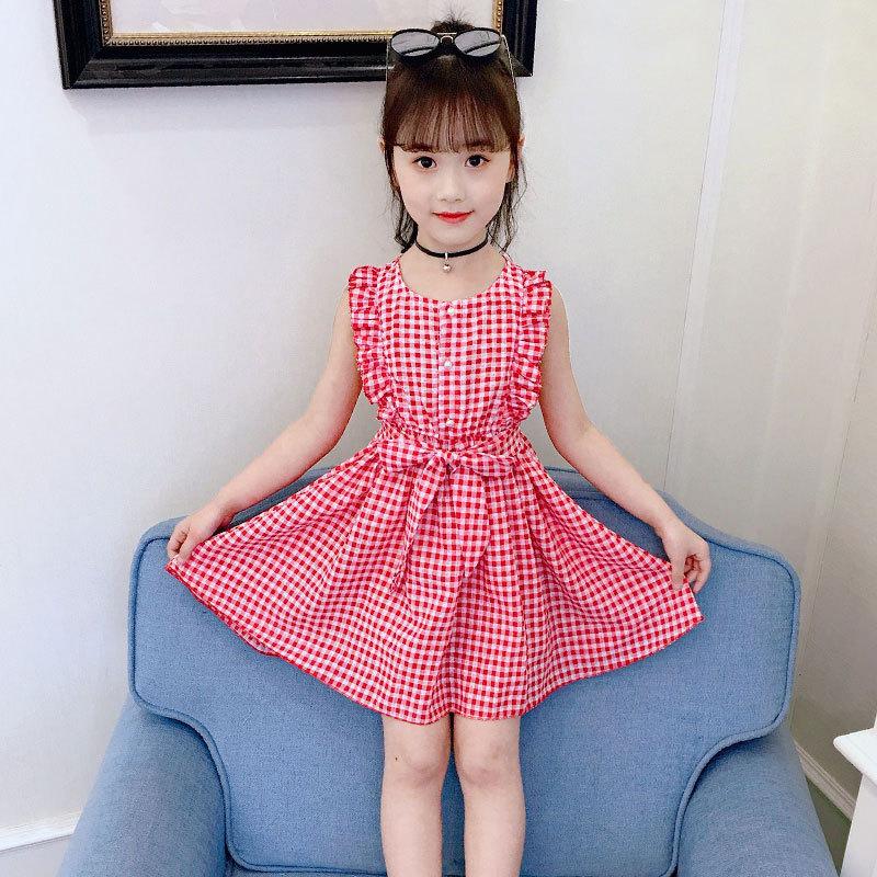 女童花边无袖腰带格子连衣裙2020夏装新款中大童儿童裙子韩版童裙