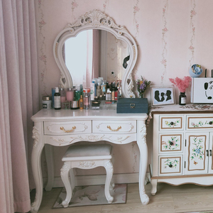新欧式梳妆台简约梳妆台化妆桌网红ins卧室梳妆台小户型迷你妆凳