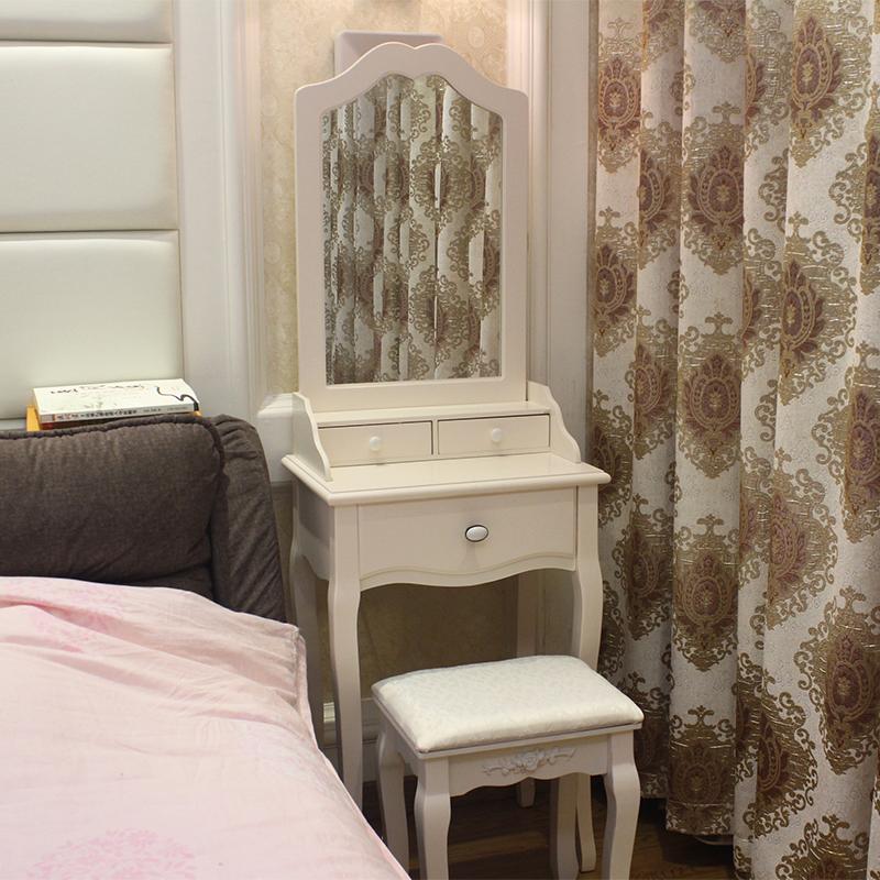 美式梳妆台白色实木化妆台桌子欧式迷你公主韩式卧室小户型组合