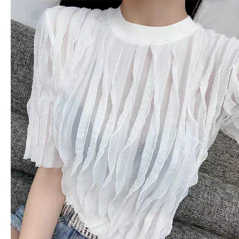 欧洲站女装新款欧货潮版慵懒轻熟圆领褶皱纯色T恤女上衣
