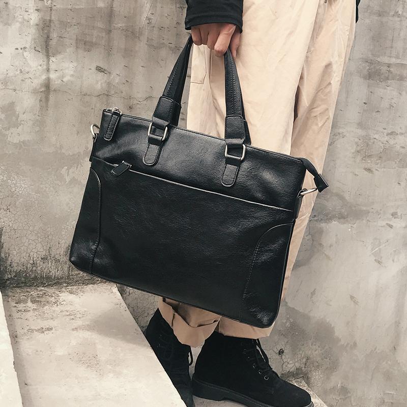 新款男包商务男士手提包公文包 出差单肩包电脑包文件包斜跨包潮